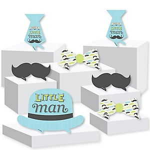 Dashing Little Man Mustache Party - Baby Shower or Birthday Party Centerpiece and Buffet Table Decor - Tabletop Standups - Set of 7