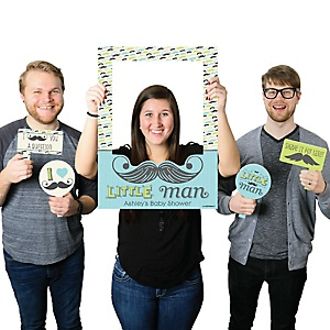 Dashing Little Man Mustache Party - Personalized Birthday Party or Baby Shower Selfie Photo Booth Picture Frame & Props - Printed on Sturdy Material
