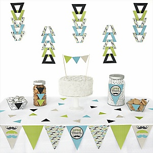 Dashing Little Man Mustache Party - 72 Piece Triangle Party Decoration Kit