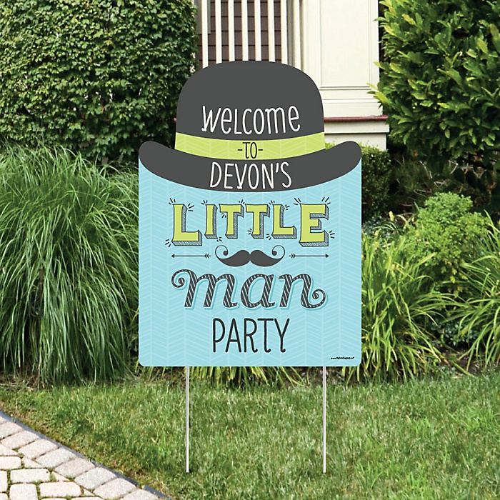 Dashing Little Man Mustache Party - Party Decorations - Birthday Party or Baby Shower Personalized Welcome Yard Sign