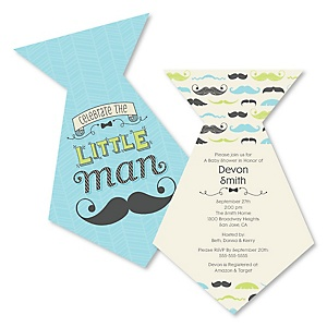Dashing Little Man Mustache Party - Shaped Baby Shower Invitations - Set of 12