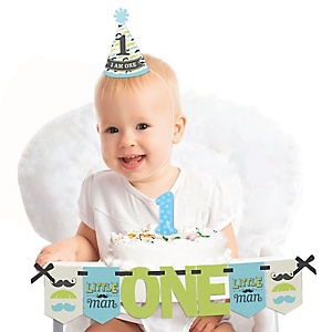 Dashing Little Man Mustache Party 1st Birthday - First Birthday Boy Smash Cake Decorating Kit - High Chair Decorations