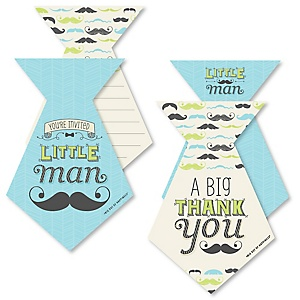 Dashing Little Man Mustache Party - 20 Shaped Fill-In Invitations and 20 Shaped Thank You Cards Kit - Baby Shower or Birthday Party Stationery Kit - 40 Pack