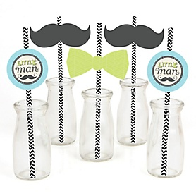 Dashing Little Man Mustache Party - Paper Straw Decor - Baby Shower or Birthday Party Striped Decorative Straws - Set of 24