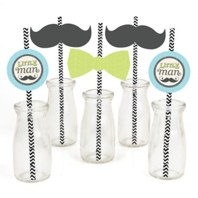 Dashing Little Man Mustache Party   Paper Straw Decor   Baby Shower Or  Birthday Party Striped Decorative Straws   Set Of 24