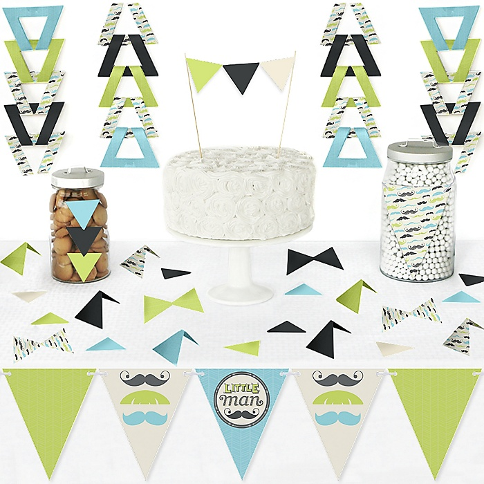 Dashing Little Man Mustache Party - DIY Pennant Banner Decorations - Baby Shower or Birthday Party Triangle Kit - 99 Pieces