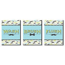 Dashing Little Man - Mustache Kids Bathroom Rules Wall Art - 7.5 x 10 inches - Set of 3 Signs - Wash, Brush, Flush