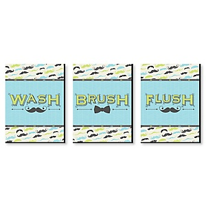 "Dashing Little Man - Mustache Kids Bathroom Rules Wall Art - 7.5"" x 10"" - Set of 3 Signs - Wash, Brush, Flush"