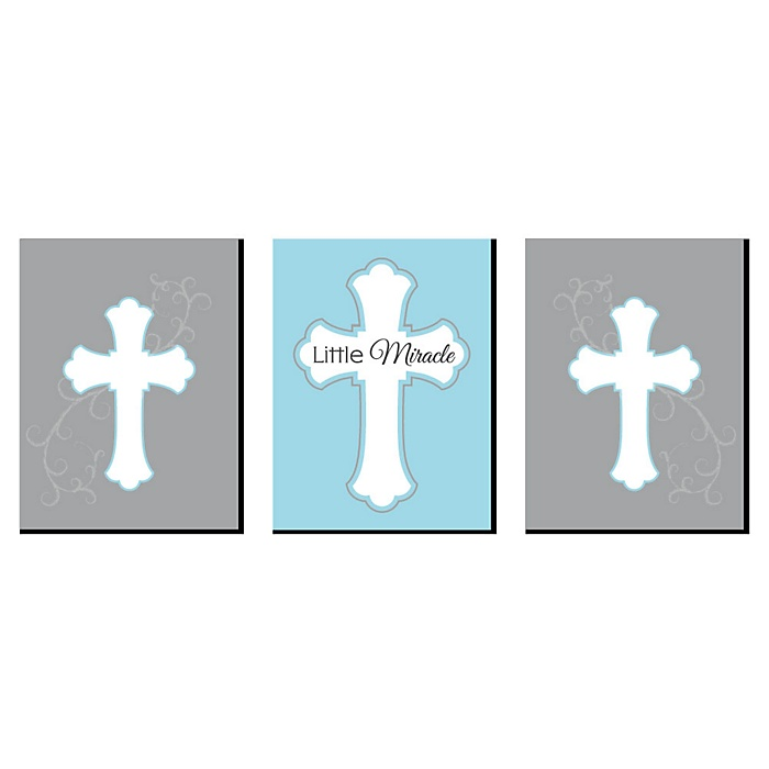 Little Miracle Boy Blue and Gray Cross - Nursery Wall Art, Kids Room Decor and Religious Home Decorations - 7.5 x 10 inches - Set of 3 Prints