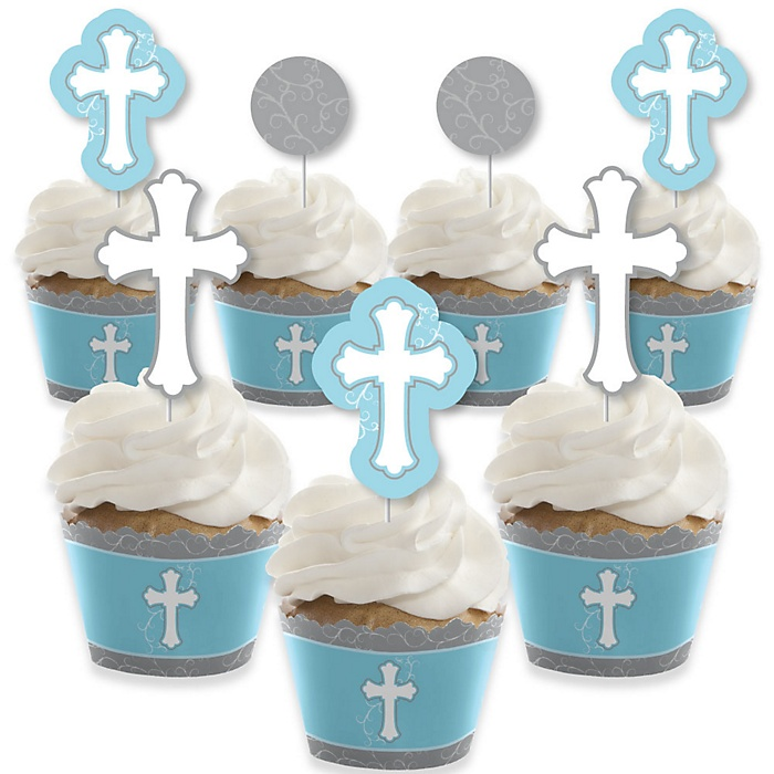 Little Miracle Boy Blue & Gray Cross - Cupcake Decoration - Baptism or Baby Shower Cupcake Wrappers and Treat Picks Kit - Set of 24