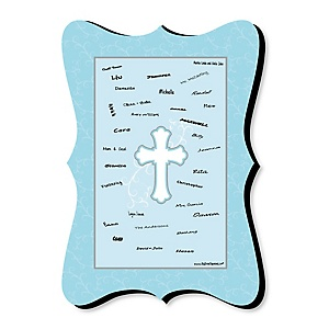 Little Miracle Boy Blue & Gray Cross - Unique Alternative Guest Book - Baptism or Baby Shower Signature Mat