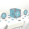 Little Miracle Boy Blue & Gray Cross - Baptism or Baby Shower Centerpiece and Table Decoration Kit