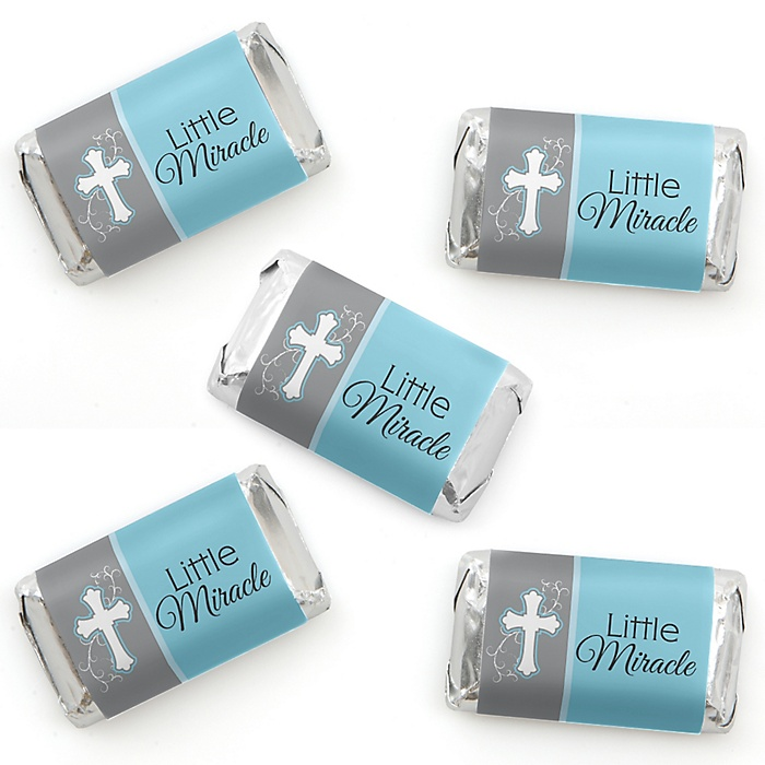 Little Miracle Boy Blue & Gray Cross - Mini Candy Bar Wrapper Stickers - Baptism or Baby Shower Small Favors - 40 Count