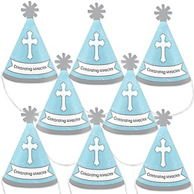 Little Miracle Boy Blue & Gray Cross - Mini Cone Baptism or Baby Shower Party Hats - Small Little Party Hats - Set of 8