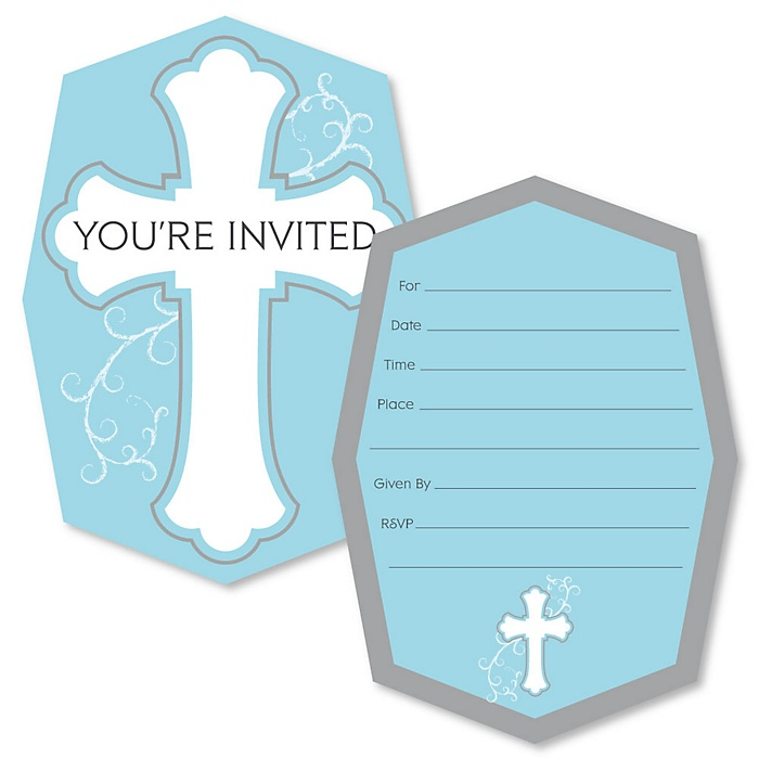 Little Miracle Boy Blue & Gray Cross - Shaped Fill-In Invitations - Baptism or Baby Shower Invitation Cards with Envelopes - Set of 12
