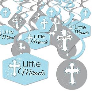 Little Miracle Boy Blue & Gray Cross - Baptism or Baby Shower Hanging Decor - Party Decoration Swirls - Set of 40