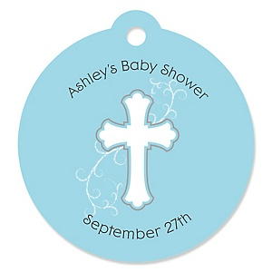 Little Miracle Boy Blue - Gray Cross - Round Personalized Party Tags - 20 ct
