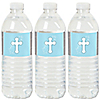 Little Miracle Boy Blue & Gray Cross - Baptism or Baby Shower Water Bottle Sticker Labels - Set of 20