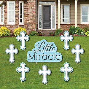 Little Miracle Boy Blue & Gray Cross - Yard Sign & Outdoor Lawn Decorations - Baptism or Baby Shower Yard Signs - Set of 8