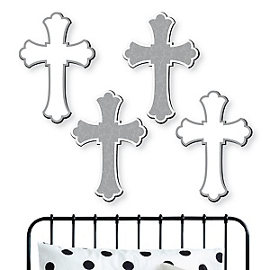 Little Miracle Gray Cross - Nursery, Kids Room and Religious Home Decorations - Shaped Wall Art - 4 Piece