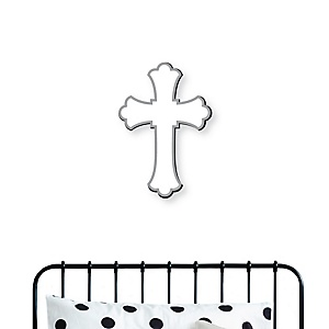 Little Miracle Gray Cross - Nursery, Kids Room and Religious Home Decorations - Shaped Wall Art - 1 Piece