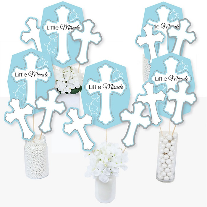 Little Miracle Boy Blue & Gray Cross - Baptism or Baby Shower Centerpiece Sticks - Table Toppers - Set of 15