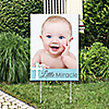 Little Miracle Boy Blue & Gray Cross - Photo Yard Sign - Baptism or Baby Shower Party Decorations
