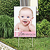 Little Miracle Girl Pink & Gray Cross - Photo Yard Sign - Baptism or Baby Shower Party Decorations