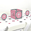 Little Miracle Girl Pink & Gray Cross - Baptism or Baby Shower Centerpiece and Table Decoration Kit