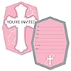 Little Miracle Girl Pink & Gray Cross - Shaped Fill-In Invitations - Baptism or Baby Shower Invitation Cards with Envelopes - Set of 12