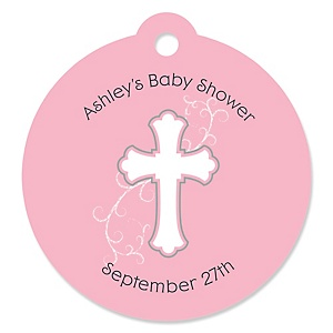 Little Miracle Girl Pink - Gray Cross - Round Personalized Party Tags - 20 ct