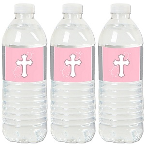 Little Miracle Girl Pink & Gray Cross - Baptism or Baby Shower Water Bottle Sticker Labels - Set of 20