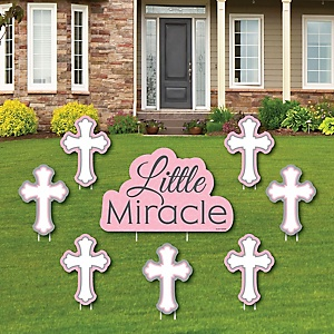 Little Miracle Girl Pink & Gray Cross - Yard Sign & Outdoor Lawn Decorations - Baptism or Baby Shower Yard Signs - Set of 8