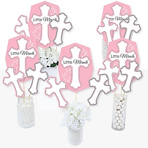 Little Miracle Girl Pink & Gray Cross - Baptism or Baby Shower Centerpiece Sticks - Table Toppers - Set of 15