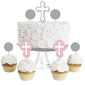 Little Miracle Girl Pink & Gray Cross - Dessert Cupcake Toppers - Baptism or Baby Shower Clear Treat Picks - Set of 24