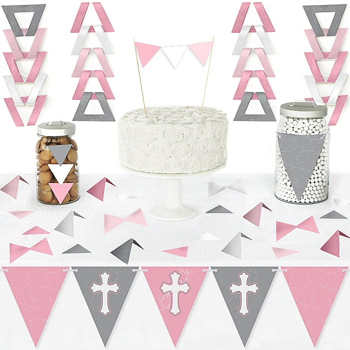 Little Miracle Girl Pink & Gray Cross - DIY Pennant Banner Decorations - Baptism or Baby Shower Triangle Kit - 99 Pieces