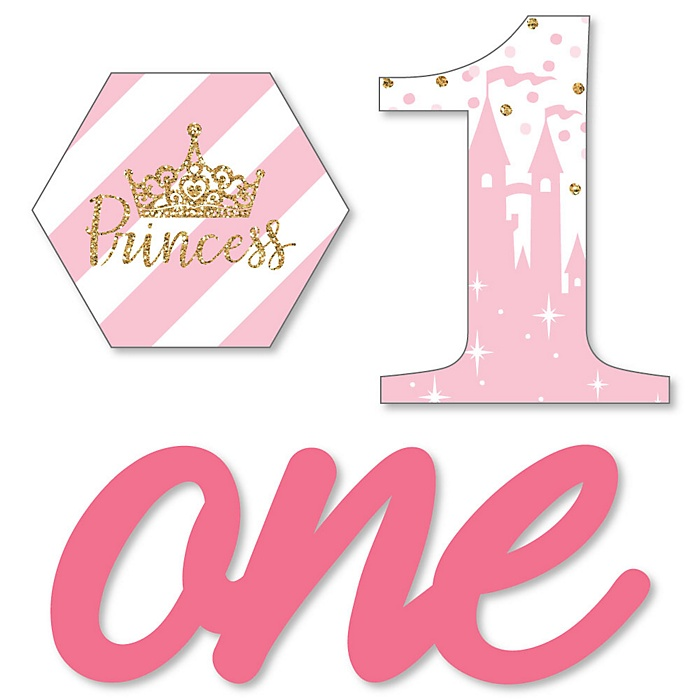 1st Birthday Little Princess Crown - DIY Shaped Pink and Gold Princess First Birthday Party Cut-Outs - 24 ct