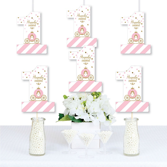 1st Birthday Little Princess Crown - One Shaped Decorations DIY Pink and Gold Princess First Birthday Party Essentials - Set of 20