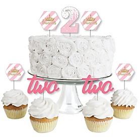 2nd Birthday Little Princess Crown - Dessert Cupcake Toppers - Pink and Gold Princess Second Birthday Party Clear Treat Picks - Set of 24