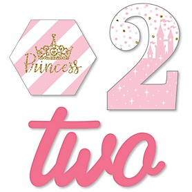 2nd Birthday Little Princess Crown - DIY Shaped Pink and Gold Princess Second Birthday Party Cut-Outs - 24 ct