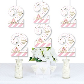 2nd Birthday Little Princess Crown - Two Shaped Decorations DIY Pink and Gold Princess Second Birthday Party Essentials - Set of 20
