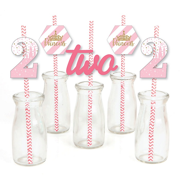 2nd Birthday Little Princess Crown - Paper Straw Decor - Pink and Gold Princess Second Birthday Party Striped Decorative Straws - Set of 24