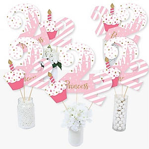 2nd Birthday Little Princess Crown - Pink and Gold Princess Second Birthday Party Centerpiece Sticks - Table Toppers - Set of 15