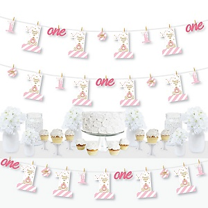 1st Birthday Little Princess Crown - Pink and Gold Princess First Birthday Party DIY Decorations - Clothespin Garland Banner - 44 Pieces
