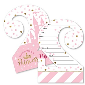 2nd Birthday Little Princess Crown - Shaped Fill-In Invitations - Pink and Gold Princess Second Birthday Party Invitation Cards with Envelopes - Set of 12