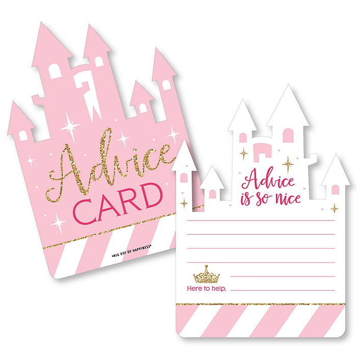 Little Princess Crown - Castle Wish Card Pink and Gold Princess Baby Shower Activities - Shaped Advice Cards Game - Set of 20