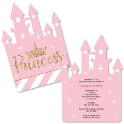 Little Princess Crown Shaped Pink and Gold Princess Baby Shower or