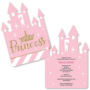 Little Princess Crown - Shaped Pink and Gold Princess Baby Shower or Birthday Party Invitations - Set of 12