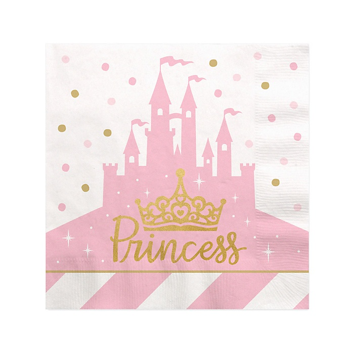 Little Princess Crown with Gold Foil - Pink and Gold Princess Baby Shower or Birthday Party Cocktail Beverage Napkins - 16 ct