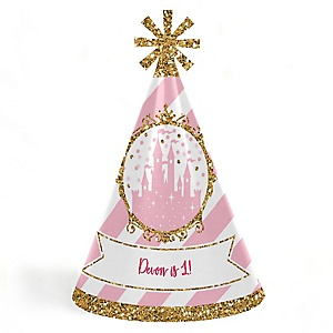 Little Princess Crown - Personalized Cone Happy Birthday Party Hats for Kids and Adults - Set of 8 (Standard Size)